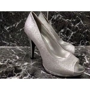 Rampage Gracee silver sparkly peep toe pumps